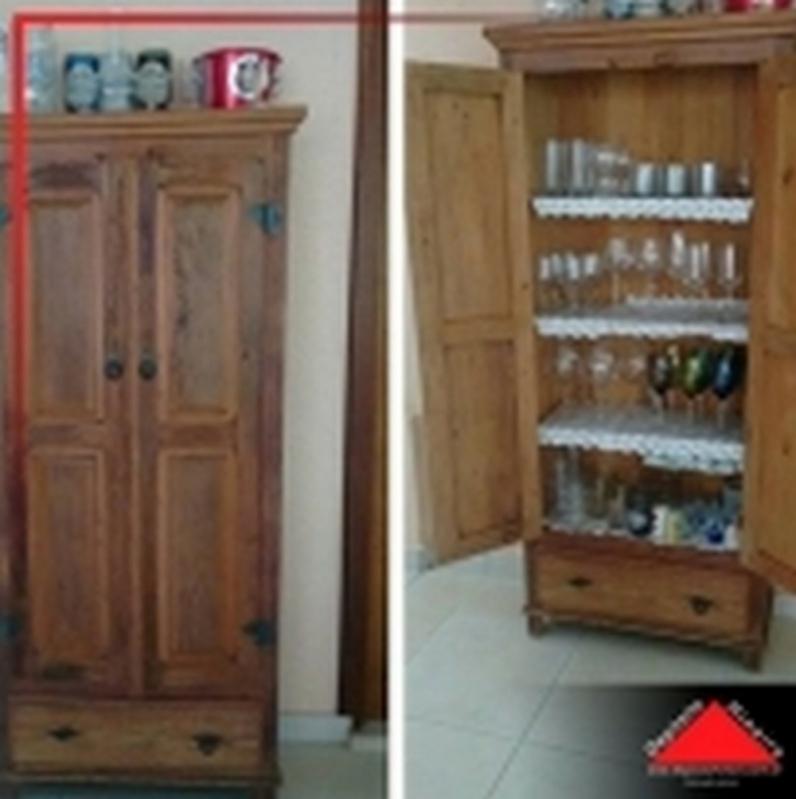 Armário de Cozinha de Madeira Rústica Cotia - Armário de Cozinha de Madeira Rústica