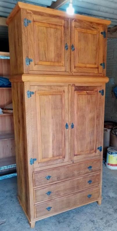 Guarda Roupa Rústico Madeira Água Branca - Guarda Roupa de Casal de Madeira Rústica
