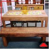 mesa de madeira maciça rústica preço Alphaville
