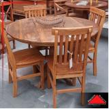 mesa de madeira rústica redonda Jockey Clube