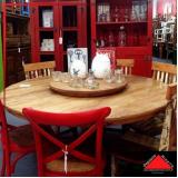 mesa redonda de madeira rústica Jardim Iguatemi