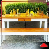 mesas de jantar de madeira rústicas Vila Curuçá